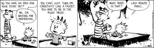 comic strip of calvin and hobbes talking about creativity